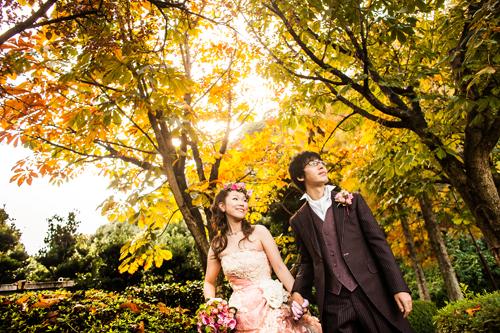 紅葉の結婚写真