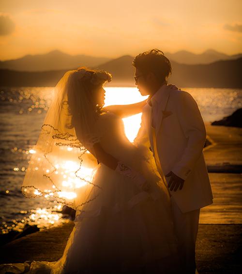 結婚写真 夕日